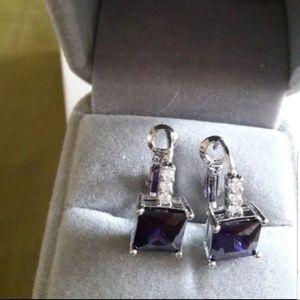 New Sliver amethyst leaver back earrings